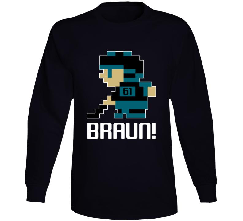 Justin Braun #61 Tecmo Player San Jose Hockey Fan Long Sleeve Shirt