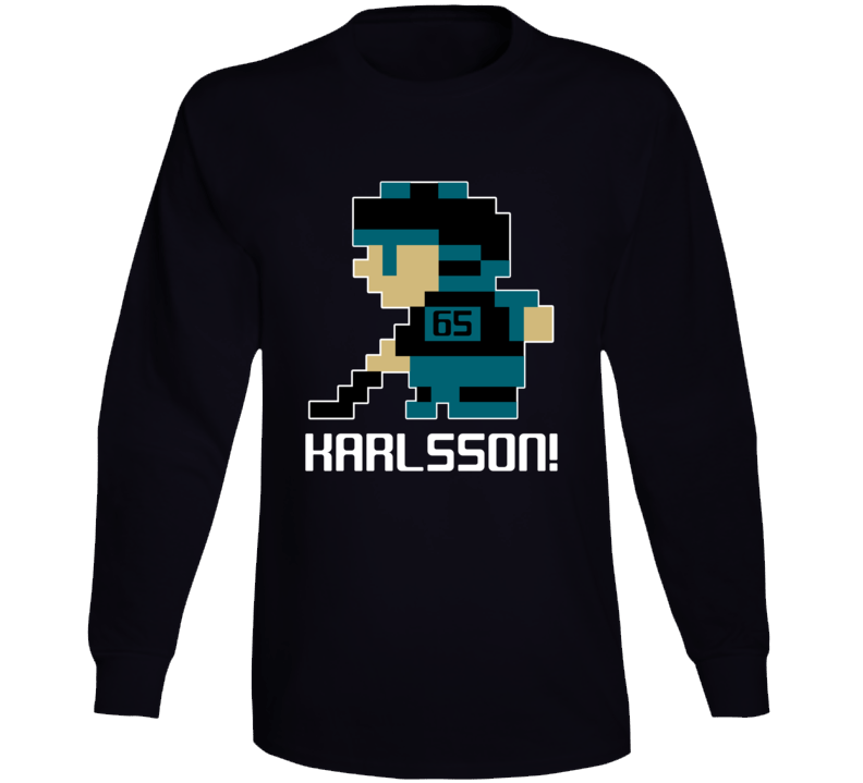 Erik Karlsson #65 Tecmo Player San Jose Hockey Fan Long Sleeve Shirt