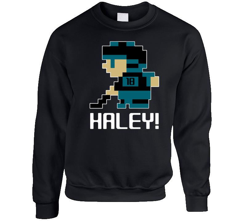 Micheal Haley #18 Tecmo Player San Jose Hockey Fan Crewneck Sweatshirt