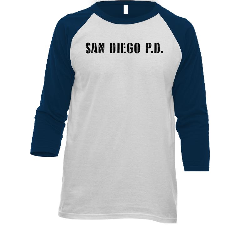Sdpd San Diego Police Dept Movie Tv Show Inspired Raglan T Shirt