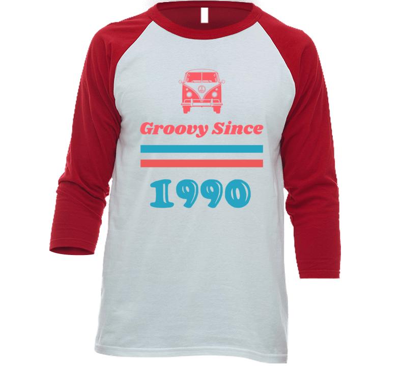 Groovy Since 1990 Cool Retro Hippie Van Birth Year Baseball Raglan