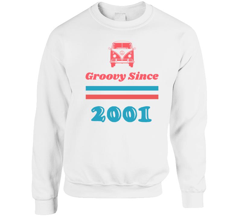 Groovy Since 2001 Cool Retro Hippie Van Birth Year Crewneck Sweatshirt