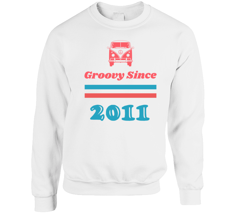 Groovy Since 2011 Cool Retro Hippie Van Birth Year Crewneck Sweatshirt