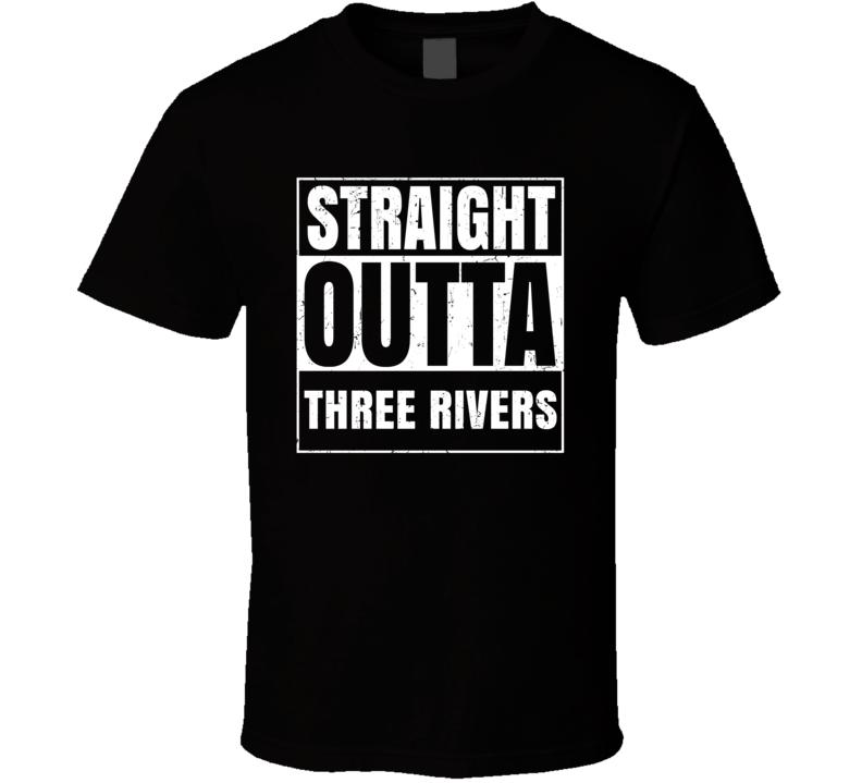 Straight Outta Three Rivers Michigan City County Compton Parody T Shirt