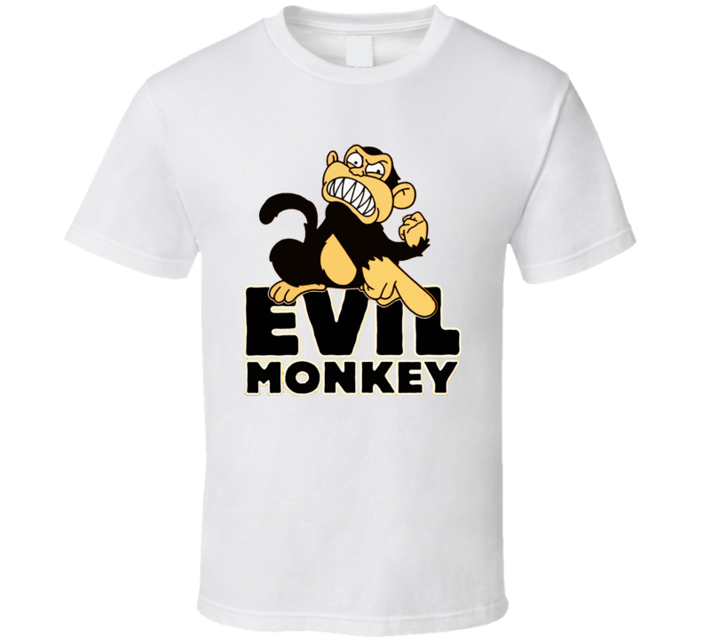 Evil Monkey Funny Joke Cartoon T Shirt