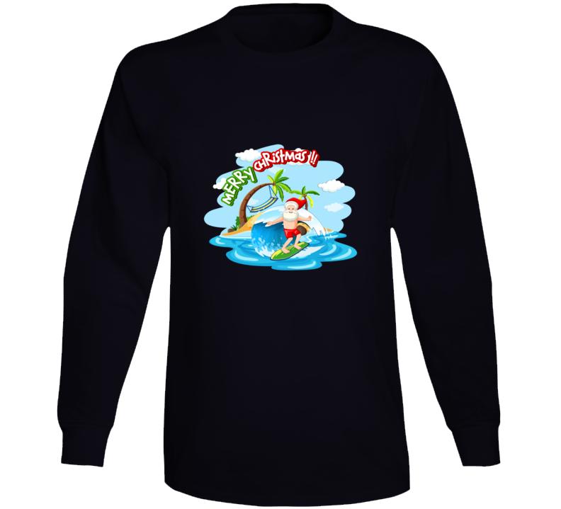 Santa Surf Long Sleeve T Shirt