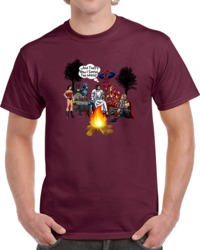 Jesus With Superheroes Campfire T Shirt How I Saved The World Christian Gift Tee
