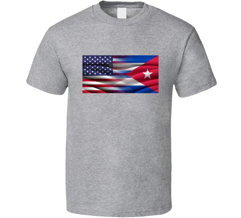 Cuba Usa Unity T-Shirt Novelty Gift Cuban American Hope Flag Tee New