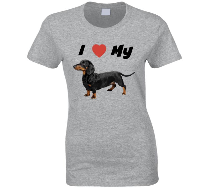 I love My Dachshund Ladies Fitted T-Shirt Wiener Dog Tee