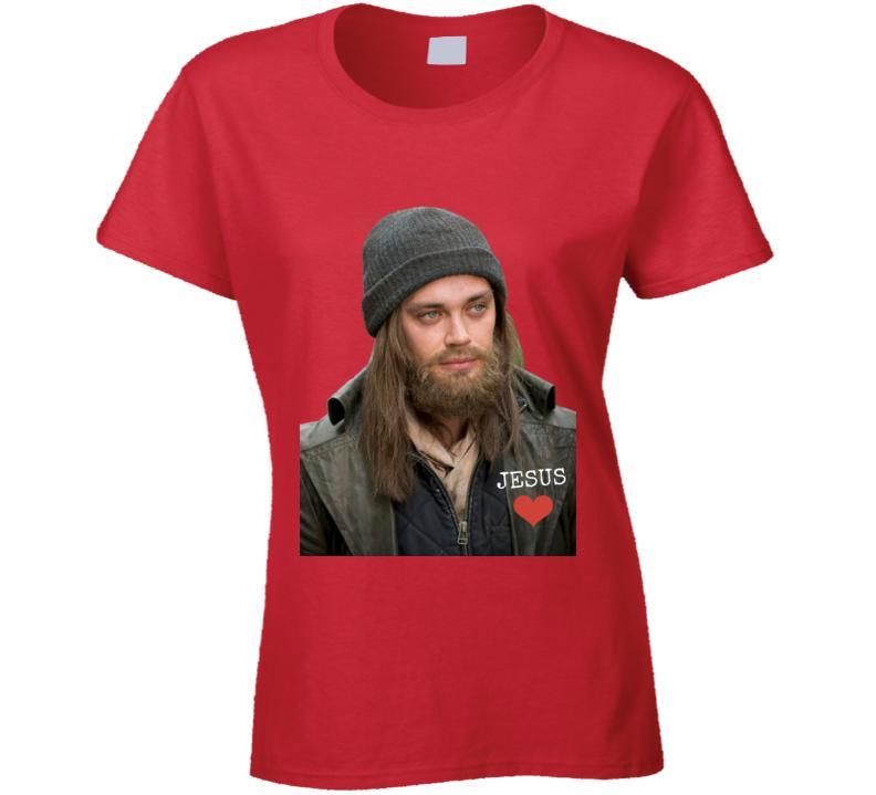 "Paul ""Jesus"" Monroe Walking Dead Ladies T-Shirt Tom Payne Love Tee Shirt"