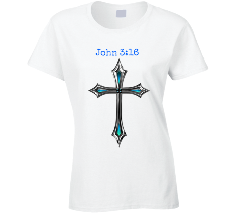 John 3:16 Cross Ladies Fitted T-Shirt Christian Inspire Crucifix Jesus Shirt New