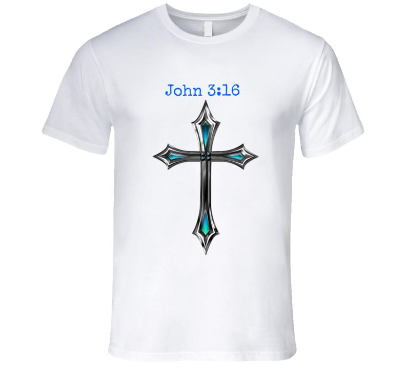John 3:16 Cross Mens Fitted T-Shirt Christian Inspire Crucifix Jesus Shirt