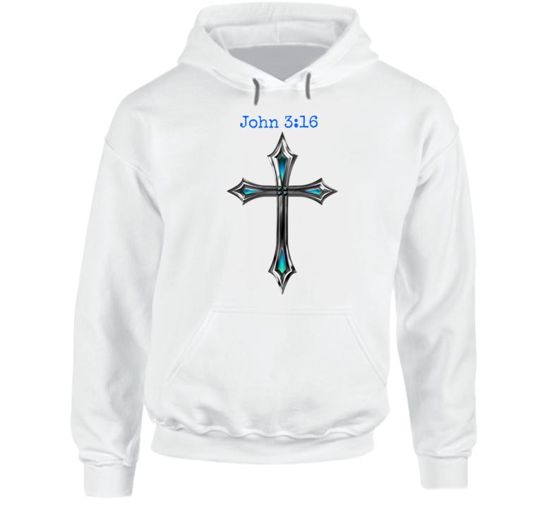 John 3:16 Cross Hoodie Christian Inspire Crucifix Jesus Hooded Sweatshirt