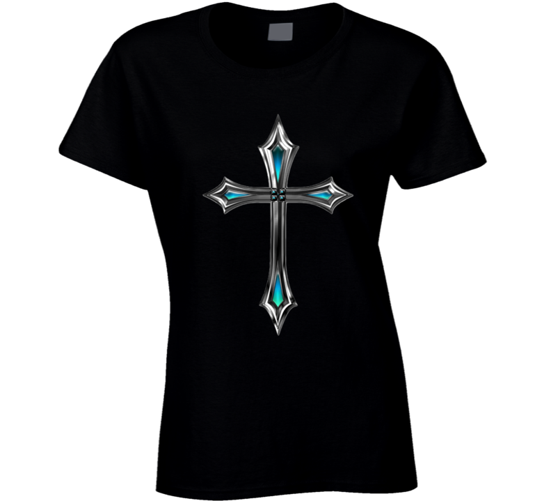 Holy Cross Ladies Fitted T-Shirt Christian Inspire Crucifix Jesus Shirt