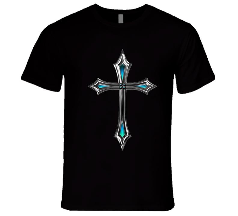 Holy Cross Mens Fitted T-Shirt Christian Inspire Crucifix Jesus Shirt
