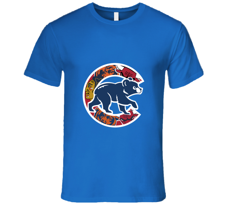 Chicago Cubs T-Shirt Mens Fitted Chicago Teams Bulls Bears Blackhawks Tee