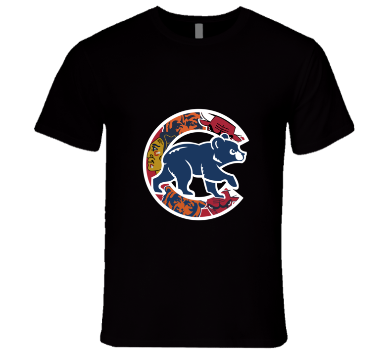 Chicago Cubs T-Shirt Mens Fitted Chicago Teams Bulls Bears Blackhawks Shirt