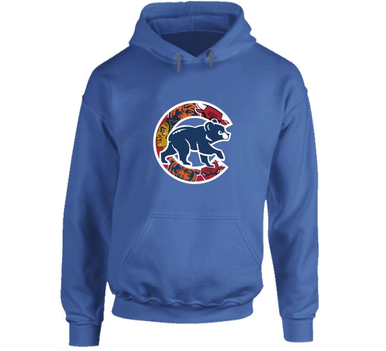 Chicago Cubs Hooodie Chicago Teams Bulls Bears Blackhawks Hooded Sweatshirt  Hoodie