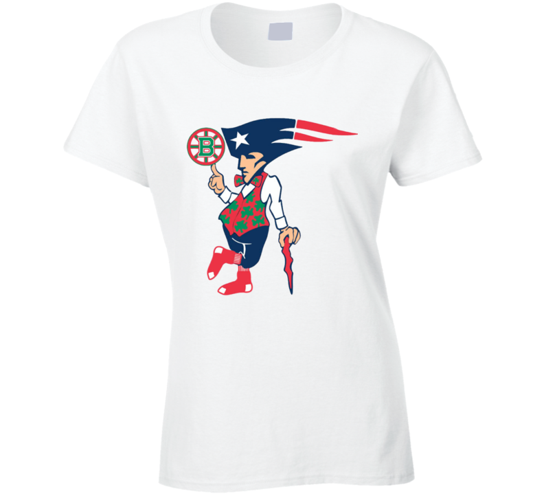 Boston New England Sports Teams T-Shirt Patriots Bruins Red Sox Ladies Tee