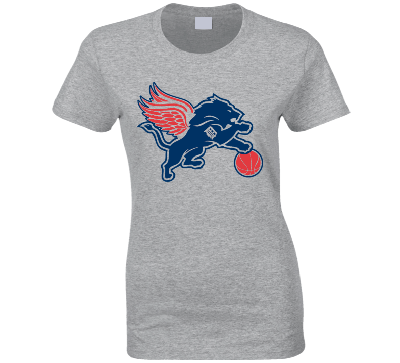 Detroit Sports Teams T-Shirt Lions Pistons RedWings Tigers Ladies Sports Tee