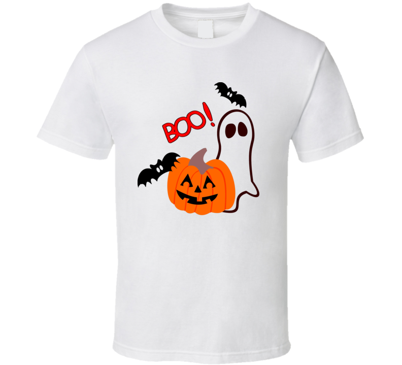 Boo! Halloween Bats Ghost Pumpkin Unisex Funny Holiday T-Shirt