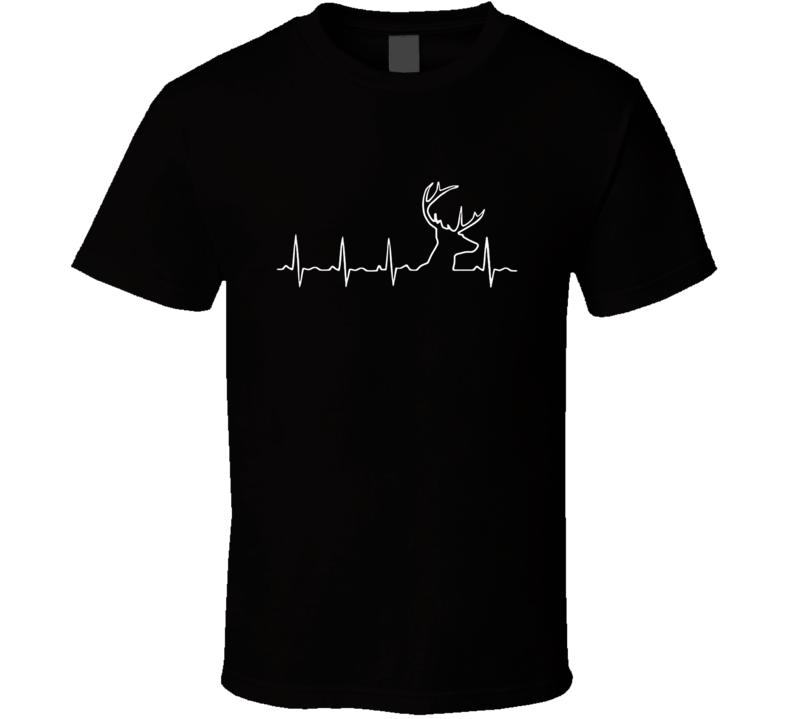 Hunting Heartbeat Deer T-Shirt Outdoor Sports Buck Hunter Gift Tee