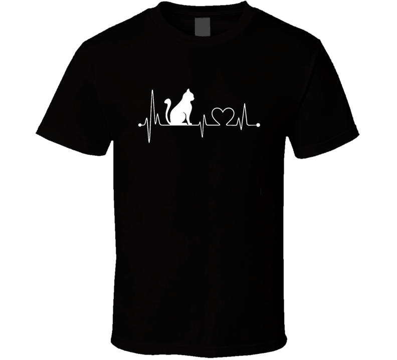 Cat Heartbeat T-Shirt Loving Feline Pet Owner Novelty Gift Tee