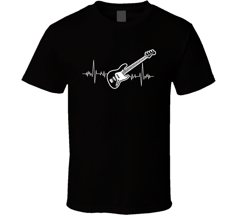 Bass Guitar Heartbeat Music Lover T-Shirt Novelty Fashion Glam Rock Gift T Shirt