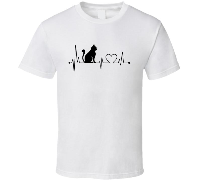 Cat Heartbeat T-Shirt Loving Feline Pet Owner Novelty Gift Fashion Tee