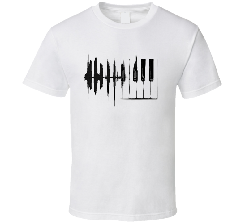 Piano Keyboard Heartbeat T-Shirt Music Lover Novelty Gift Fashion Tee