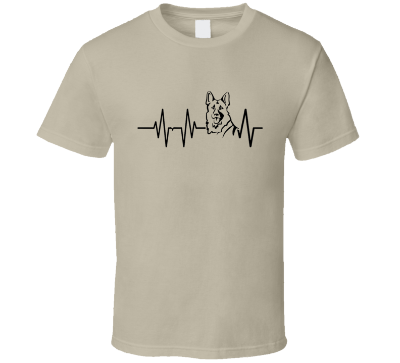German Shepherd Heartbeat T-Shirt Loving Dog Owner Canine Novelty Tee