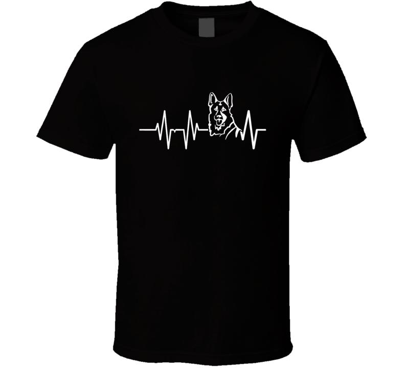 German Shepherd Heartbeat T-Shirt Loving Dog Owner Novelty Canine Gift Tee Shirt