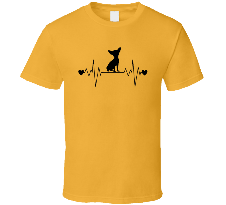 Chihuahua Heartbeat T-Shirt Loving Dog Owner Novelty Canine Gift Tee
