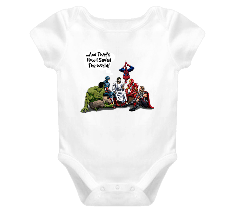 Jesus And Superheroes Baby One Piece That's How I Saved The World Christian Gift