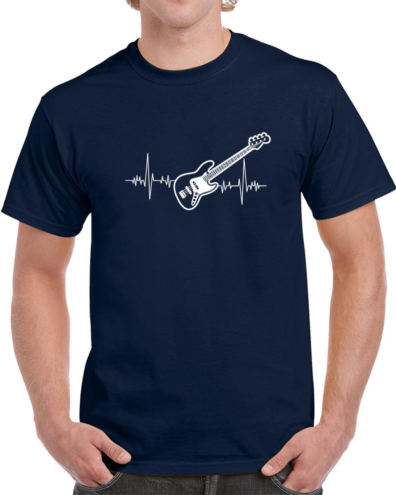 Bass Guitar Heartbeat Music Lover T Shirt Novelty Fashion Glam Rock Gift Tee Top