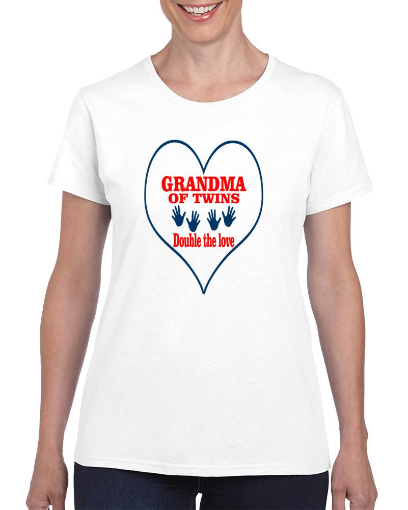 Grandma Of Twins T Shirt Grandmother Nonnie Bucia Novelty Fashion Gift Tee Top