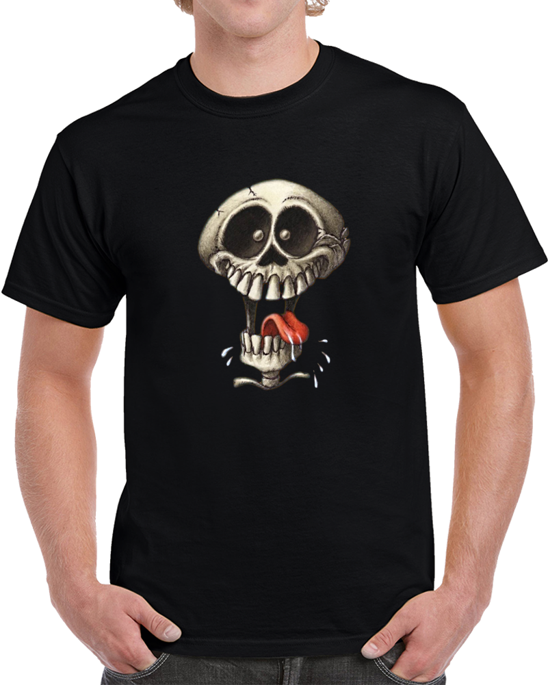 Crazy Skull Halloween T Shirt Holiday Skeleton Funny Scary Novelty Gift Tee