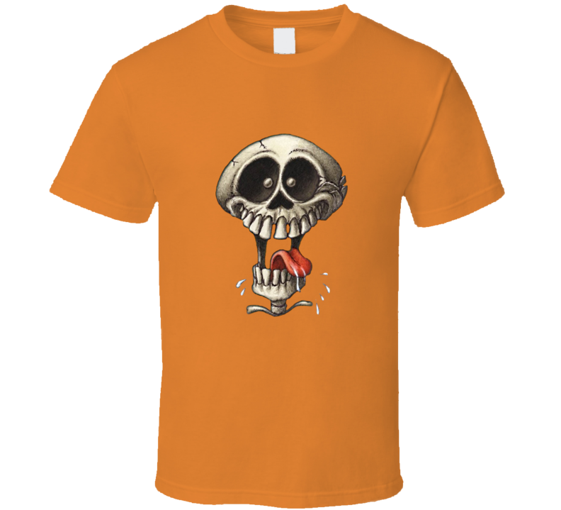 Crazy Skull Halloween T Shirt Holiday Skeleton Funny Scary Novelty Gift Tee Top