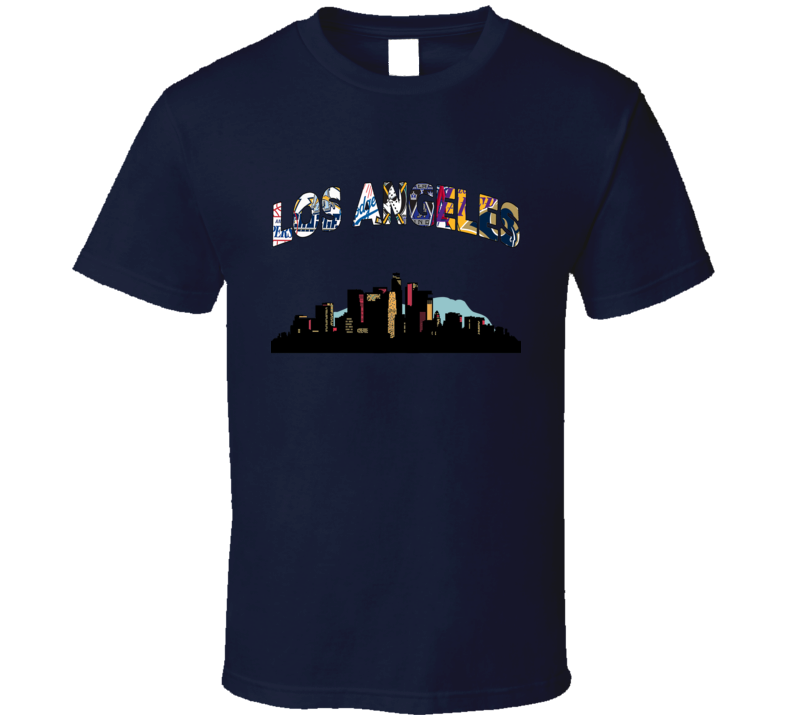 Los Angeles Teams City Skyline T Shirt Rams Lakers Dodgers Clippers Sports Tee