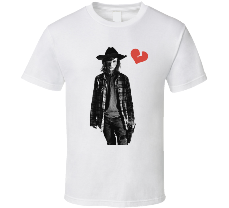Carl Grimes Heartbreak The Walking Dead T Shirt Chandler Riggs Novelty Gift Tee