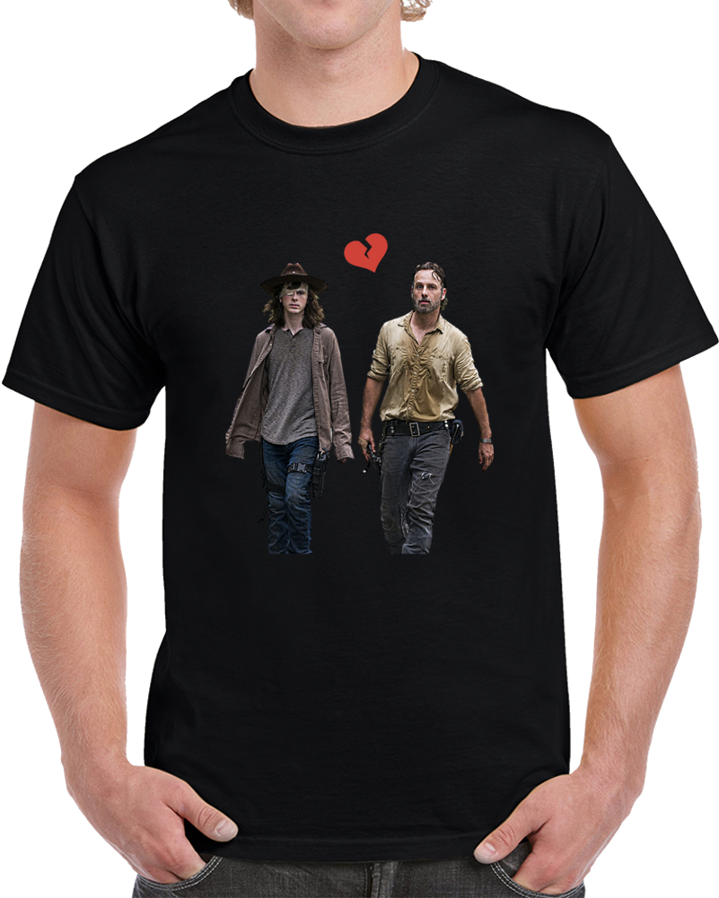 Rick And Carl Grimes Heartbreak T-Shirt Unisex The Walking Dead Tv Show Gift Tee