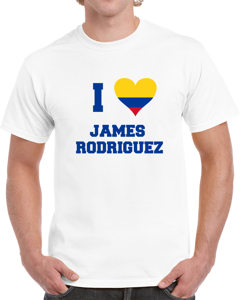 I Love Columbian Soccer Star James Rodriguez T-Shirt Columbia Fifa Soccer Fan T