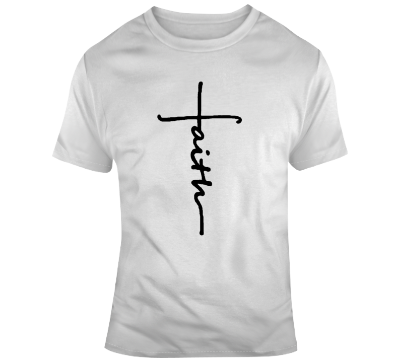Faith Cross T-Shirt Novelty Christian Fashion Glam Religious Gift Jesus Tee Top