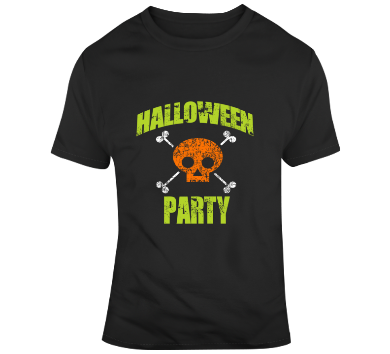 Halloween Party Skull Crossbones T-Shirt Unisex Novelty Funny Holiday Gift Tee