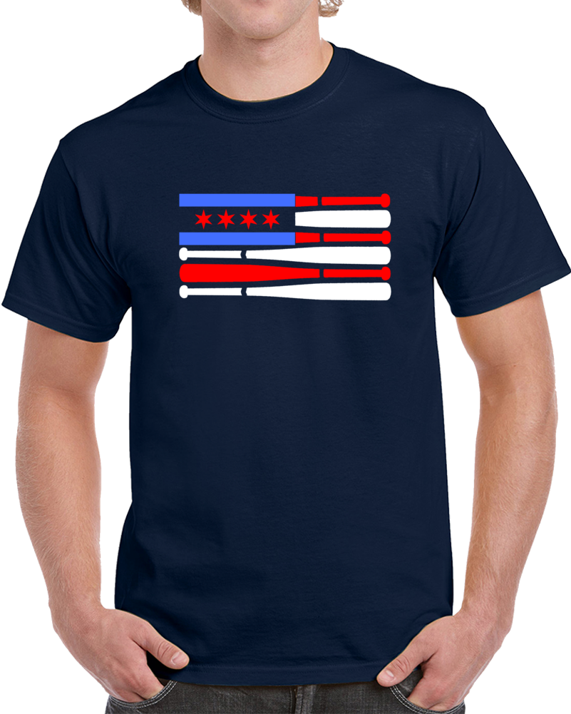 Patriotic Baseball Bat Chicago Flag Novelty Tee A Great Windy City T-Shirt Gift T Shirt
