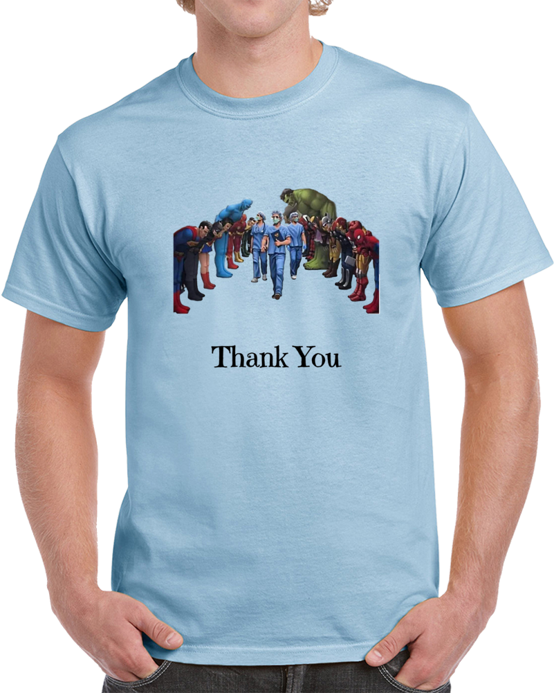 Superheroes Bowing To Doctors & Nurses TShirt A Great Gift Tee For Medical Heroes