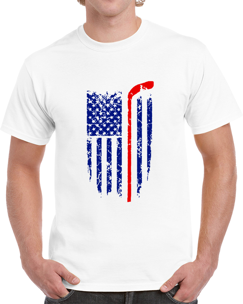 Patriotic Hockey Flag T Shirt - Cool Novelty Unisex Sports Tee Great USA TShirt