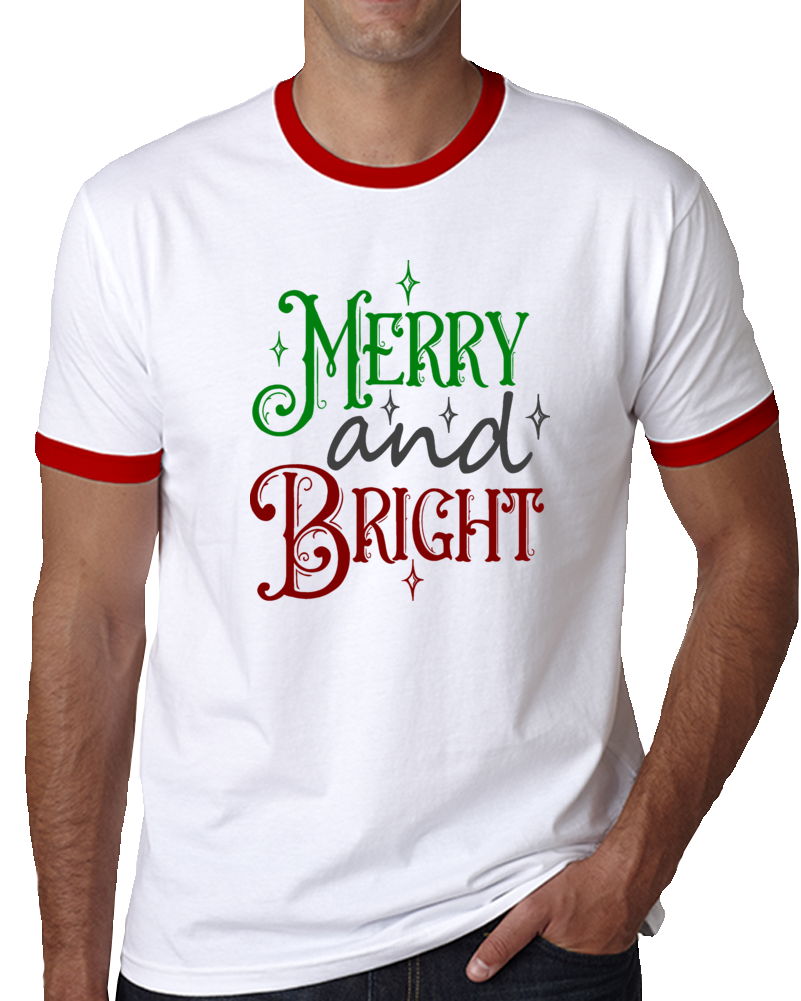 Merry And Bright Christmas Tee Cool Unisex Holiday TShirt Great Yuletide T Shirt
