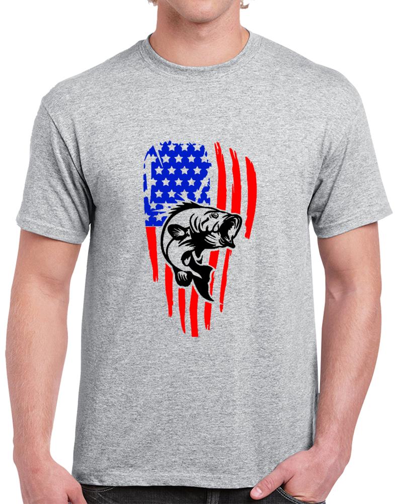 American Flag Fishing Shirt Vintage Fishing TShirt Novelty Bass Angling T Shirt