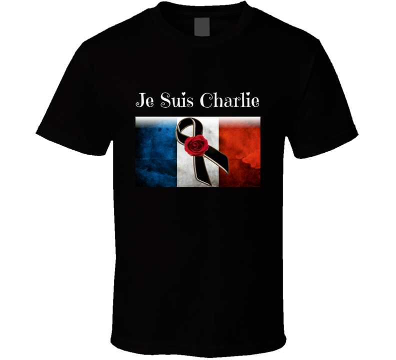 Je Suis Charlie French Mourning Ribbon Tribute Flag T-Shirt New
